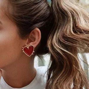 """SERENA"" 💘 Gold Red Heart Stud Earrings"